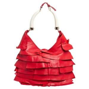Yves Saint Laurent Red Leather St.Tropez Mombasa Hobo