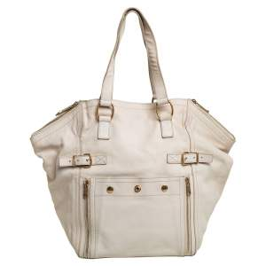 Yves Saint Laurent Cream White Leather Large Downtown Tote