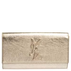 Yves Saint Laurent Metallic Gold Leather Belle De Jour Flap Clutch