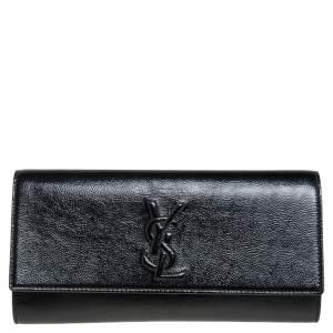 Yves Saint Laurent Black Patent Leather Small Belle De Jour Flap Clutch