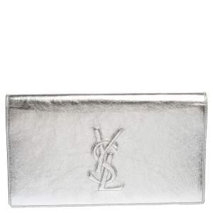 Yves Saint Laurent Metallic Silver Leather Belle De Jour Clutch