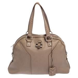 Yves Saint Laurent Beige Leather Large Muse Bag