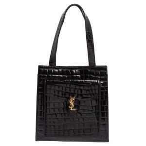 Yves Saint Laurent Black Croc Embossed Leather Tote