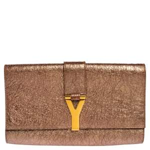 Yves Saint Laurent Metallic Pink Crinkled Leather Large Chyc Clutch