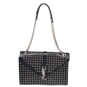 Saint Laurent Black Studded Leather Monogram Envelope Shoulder Bag