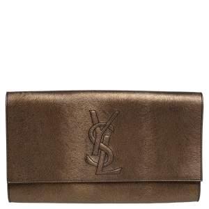 Yves Saint Laurent Gold/Black Textured Leather Belle De Jour Flap Clutch