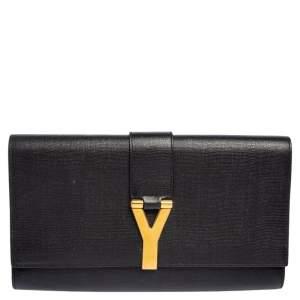 Yves Saint Laurent Black Leather Large Chyc Clutch