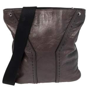 Yves Saint Laurent Grey Leather Messenger Bag