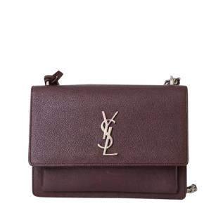 Yves Saint Laurent Wine Leather Medium Sunset Shoulder Bag