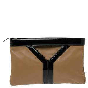 Yves Saint Laurent Beige/Black Patent Leather and Leather Cocktail Oversized Clutch