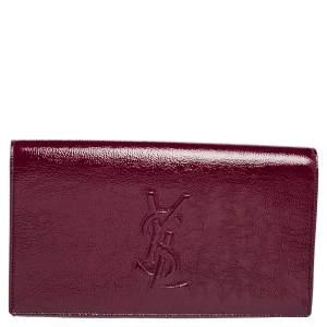 Yves Saint Laurent Burgundy Patent Leather Belle De Jour Flap Clutch