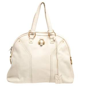 Yves Saint Laurent Cream Leather Large Muse Bag