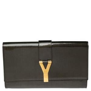 Yves Saint Laurent Olive Green Patent Leather Y-Ligne Clutch