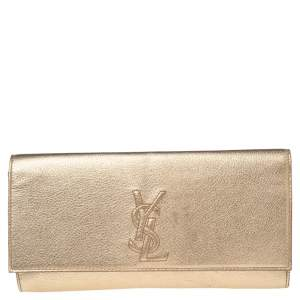 Yves Saint Laurent Metallic Gold Leather Small Belle De Jour Flap Clutch