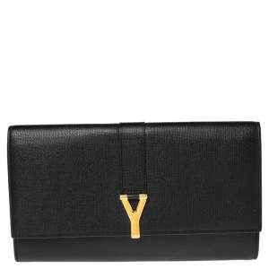 Yves Saint Laurent Black Textured Leather Document Clutch