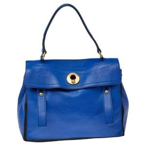 Yves Saint Laurent Blue/Black Leather And Canvas Muse Two Top Handle Bag