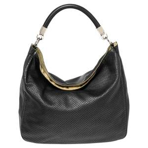 Yves Saint Laurent Black Perforated Leather Roady Hobo