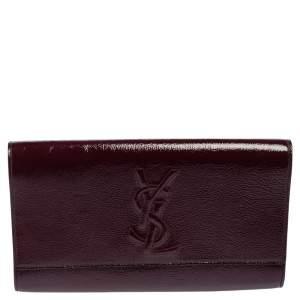 Yves Saint Laurent Burgundy Patent Leather Belle De Jour Clutch