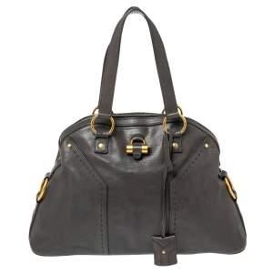 Yves Saint Laurent Grey Leather Large Muse Bag