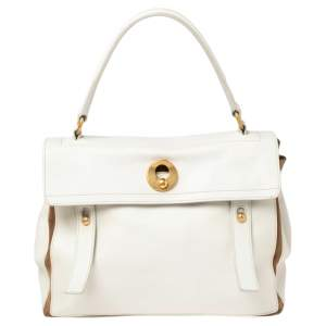 Yves Saint Laurent White/Brown Leather And Suede Muse Two Top Handle Bag