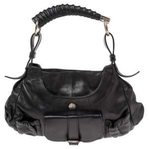 Yves Saint Laurent Black Leather Mini Front Pocket Mombasa Hobo