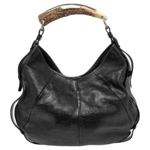 Yves Saint Laurent Black Leather Mombasa Hobo