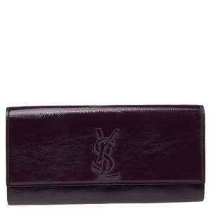 Yves Saint Laurent Purple Patent Leather Belle De Jour Clutch