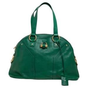 Yves Saint Laurent Green Leather Medium Muse Satchel