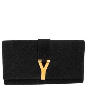 Yves Saint Laurent Black Shimmer Glitter And Suede Y-Ligne Clutch