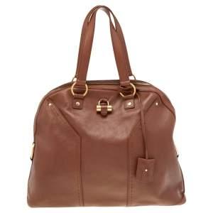 Yves Saint Laurent Brown Leather Large Muse Satchel