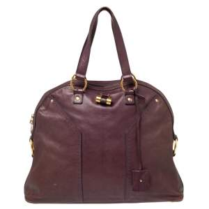 Yves Saint Laurent Purple Leather Oversized Muse Bag