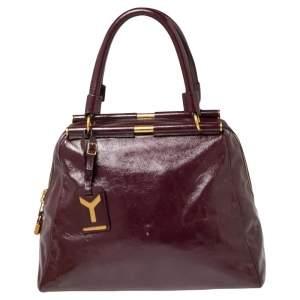Yves Saint Laurent Purple Patent Leather Medium Majorelle Satchel