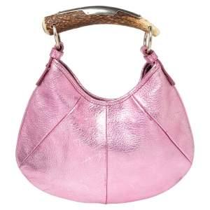 Yves Saint Laurent Metallic Pink Leather Mini Mombasa Hobo