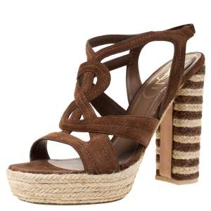 Saint Laurent Brown Suede Caged Platform Espadrille Sandals Size 39.5