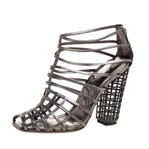 Yves Saint Laurent Metallic Grey Strappy Cage Sandals Size 36