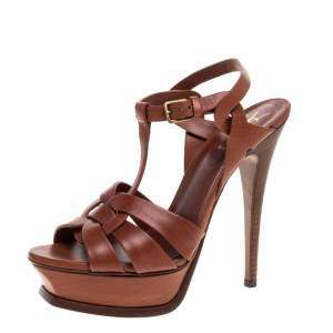 Yves Saint Laurent Brown Wood Effect Leather Tribute Platform Sandals Size 36.5