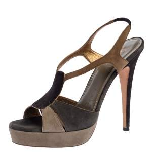 Yves Saint Laurent Tri Color Suede Slingback Platform Sandals Size 40.5