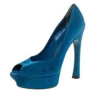 Yves Saint Laurent Teal Blue Suede Palais Platform Peep Toe Pumps Size 39.5