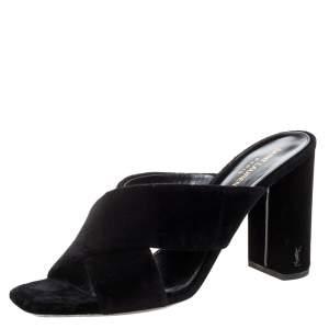 Saint Laurent Paris Black Velvet LouLou Cross Strap Sandals Size 41