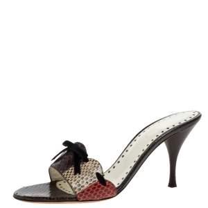 Saint Laurent Vintage Multicolor Python Leather Bow Open Toe Sandals Size 38.5