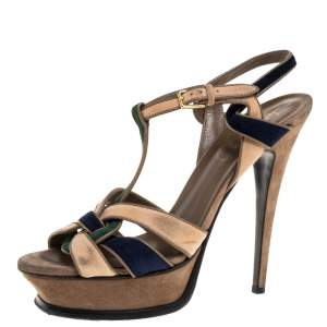 Yves Saint Laurent Tricolor Suede Tribute Platform Sandals Size 39