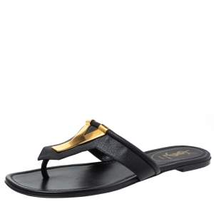 Yves Saint Laurent Black Leather Ycon Thong Flat Sandals Size 39