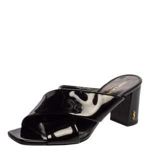 Saint Laurent Paris Black Patent Leather Loulou Criss Cross Mules Size 36.5