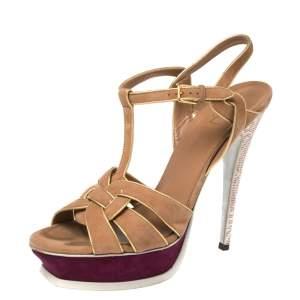 Yves Saint Laurent Tricolor Suede Tribute Platform Sandals Size 41
