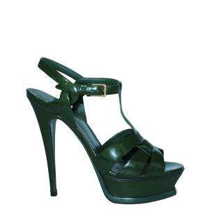 Yves Saint Laurent Green Patent Leather tribute Sandals Size 37