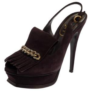 Saint Laurent Dark Brown Suede Tribute Fringe Chain Detail Platform Sandals Size 37.5