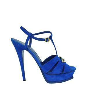 Yves Saint Laurent Blue Suede Tribute Sandals Size 39.5