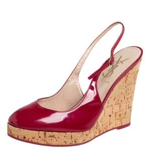 Yves Saint Laurent Red Patent Leather Cork Wedge Slingback Sandals Size 37