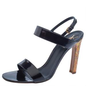 Yves Saint Laurent Navy Blue Patent Leather Cork Heel Ankle Strap Sandals Size 41