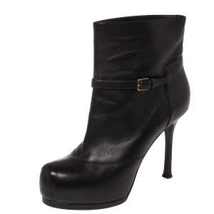 Yves Saint Laurent Black Leather Tribtoo Platform Ankle Boots Size 38
